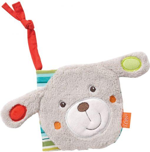 Brinquedo de bebé baby fehn livro de figuras caozinho