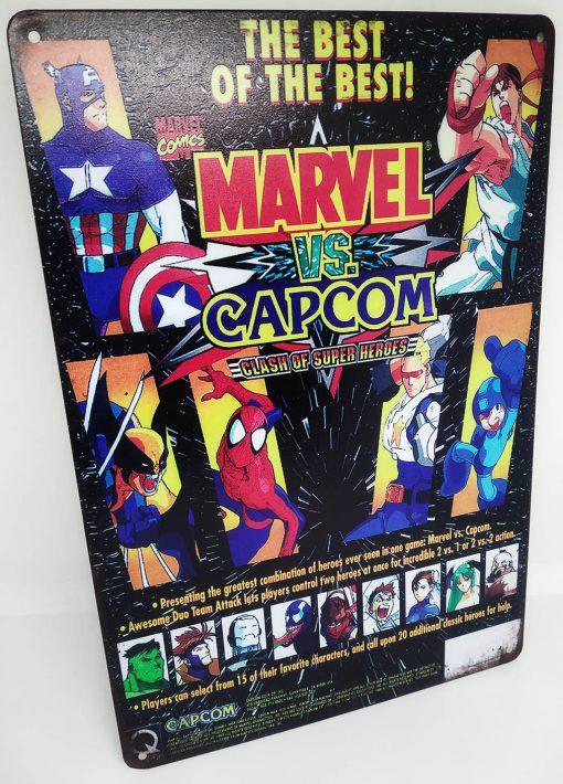 Placa Metálica Decorativa Marvel vs Capcom