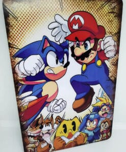 Placa Metálica Decorativa Sonic vs Mario
