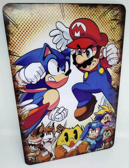 Placa Metálica Decorativa Sonic vs Mario