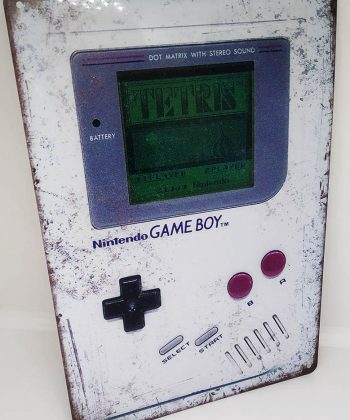 Placa Metálica Decorativa Game Boy Tetris