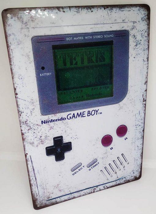 Placa Metálica Decorativa Game Boy Tetris