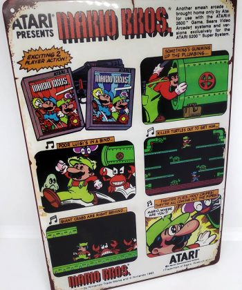 Placa Metálica Decorativa Mario Bros Atari Comic