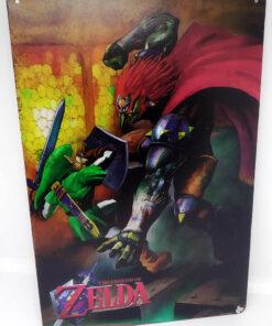 Placa Metálica Decorativa Zelda: Link vs Ganon